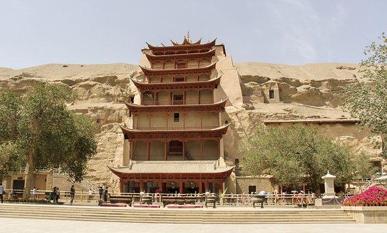 中国, 甘粛省, 敦煌, の莫高窟