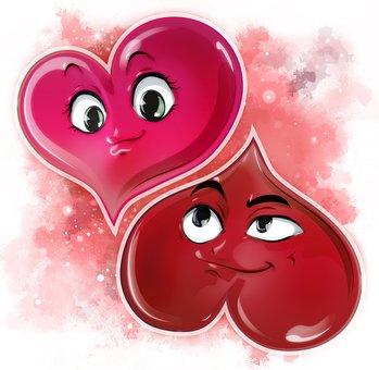 Cartoon, Love, Heart, Red