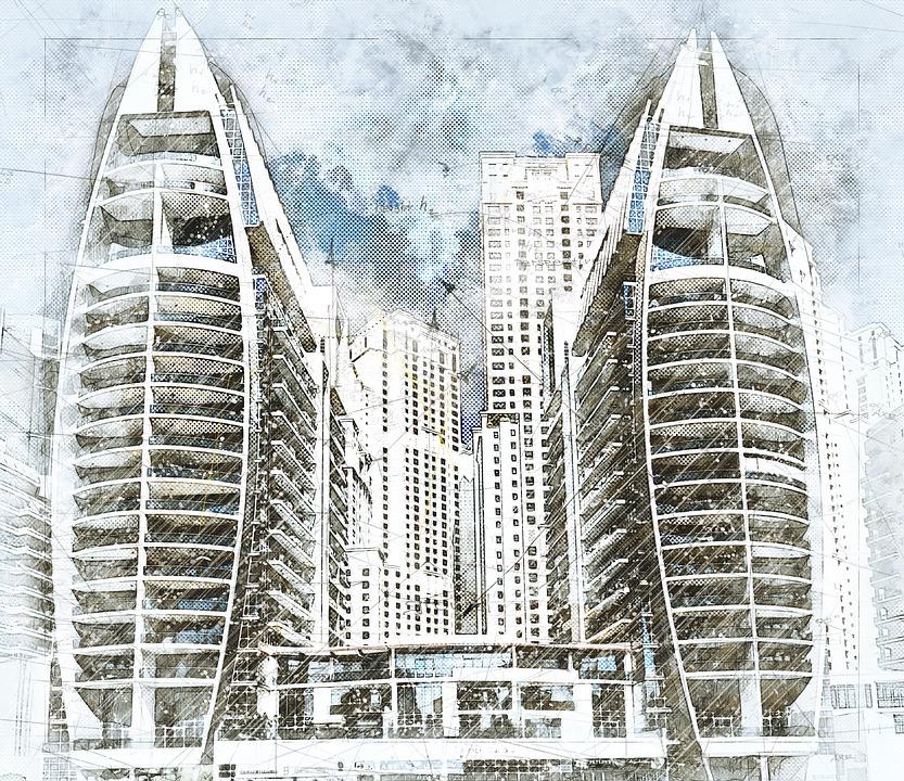 Architecture Skyscraper Dubai Modern Building City