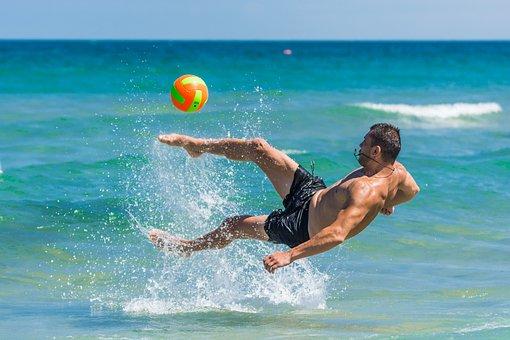 Beach, Footbal, Sea, Summer, Sand, Ball