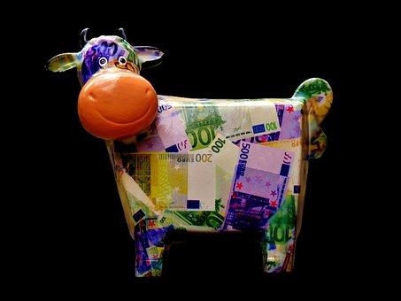Kuh, Sparen, Geld, Sparschwein, Lustig