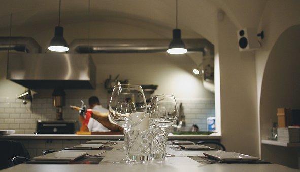 キッチン, レストラン, シェフ, 料理, テーブル, メガネ, プレート