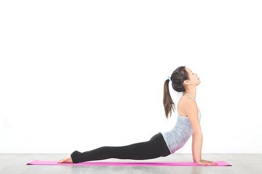 人, 女性, ヨガ, マット, 瞑想, 物理, フィットネス, 健康