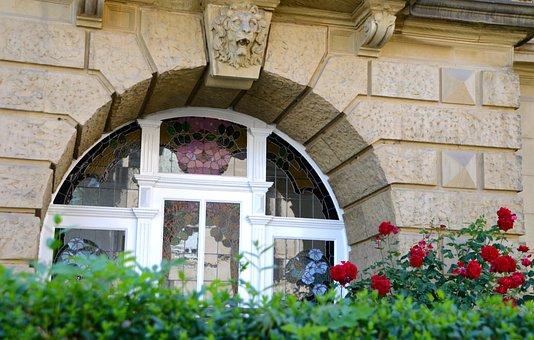 Blumen, Fenster, Jugenstil, Fassade