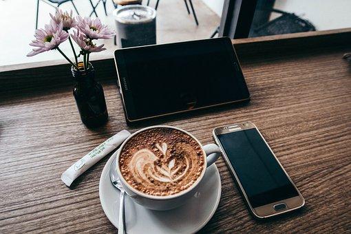 コーヒー, ホット, ドリンク, エスプレッソ, カップ, ソーサー, スプーン