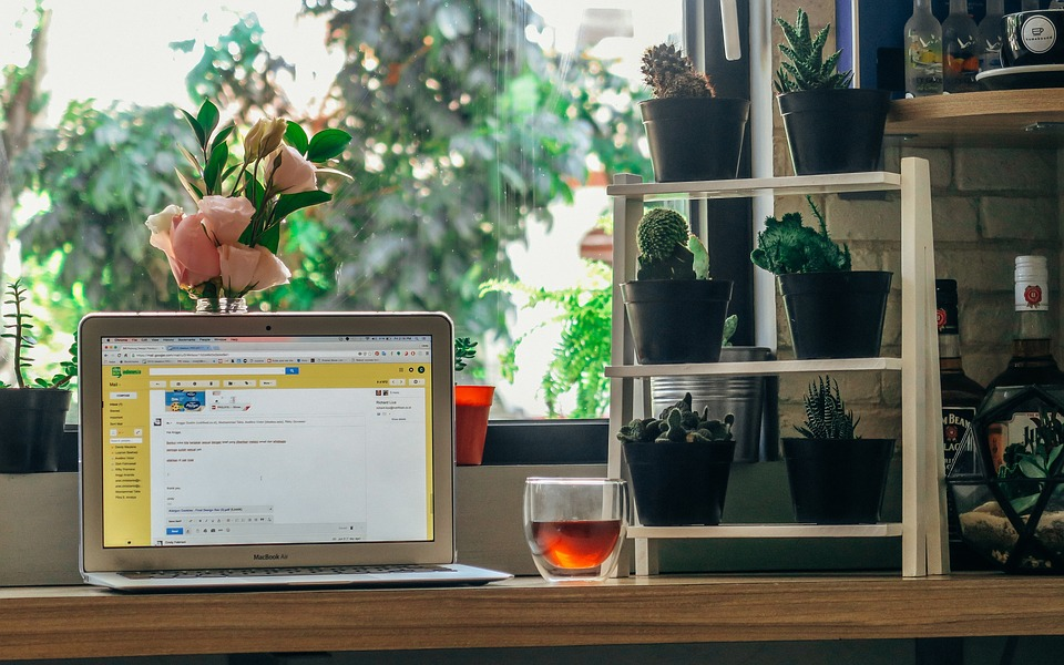 ラップトップ, コンピュータ, ブラウザー, 研究, 通信, ビジネス, 仕事, デスク, ホーム