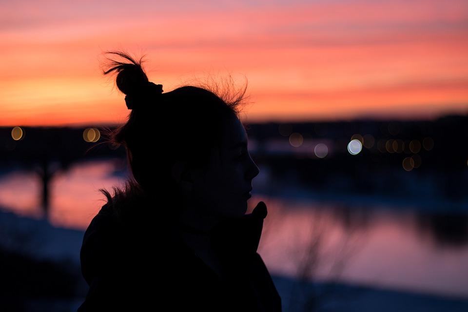 people woman girl alone dark night silhouette