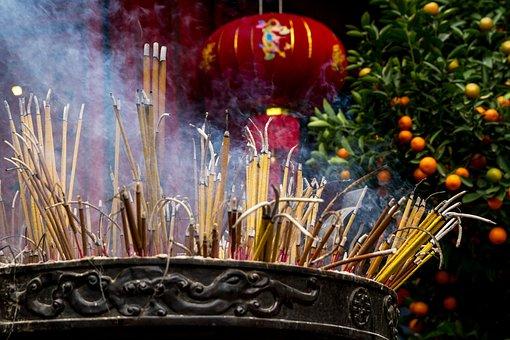 Vietnam, Tempel, Räucherstäbchen, Asien