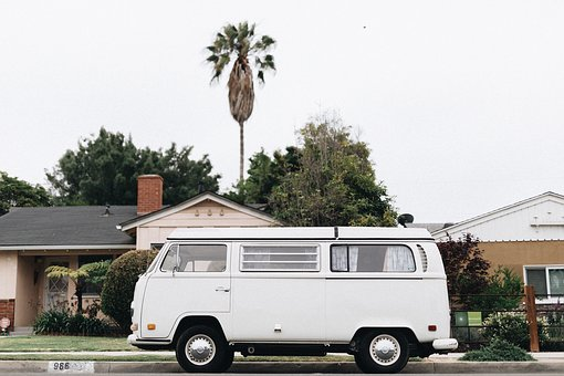 White, Van, Car, Vehicle, Houses