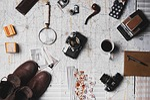 map, microscope, coffee
