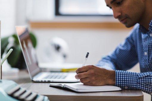 男, 書き込み, ラップトップ, コンピュータ, 勉強, 作業, 研究, 学校