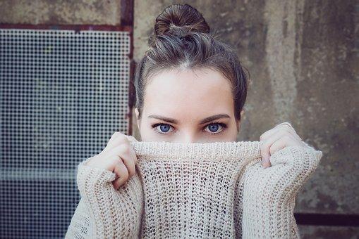 Woman, Knitwear, Eyes, Face, Head