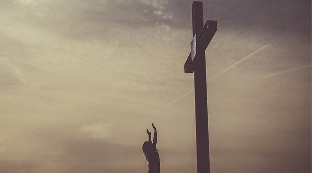 Cross, People, Woman, Pray, Worship