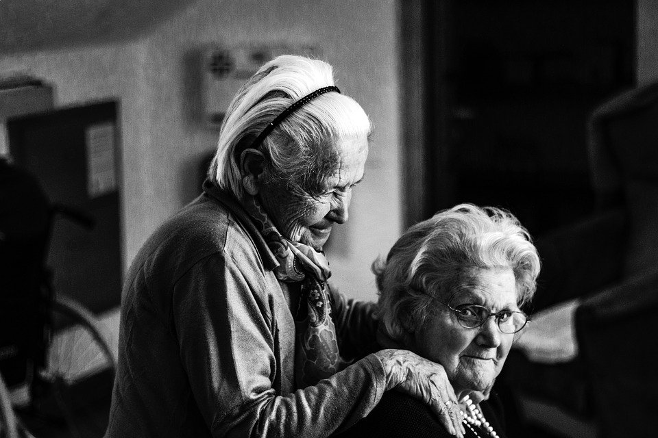 People, Old, Women, Grandmother, Black And White