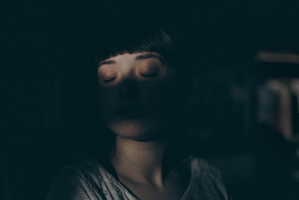 Personas, Niña, Mujer, Dormir, Oscuro, Negro Dormir