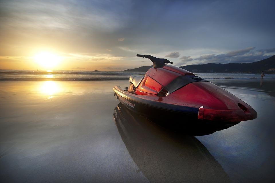 Jet, Ski, Jetski, Red, Travel, Beach, Water, Speed