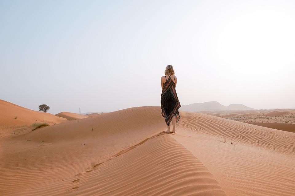 Mensen, Meisje, Wandelen, Alleen, Woestijn, Hoogland