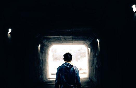 Dark, Tunnel, People, Man, Guy