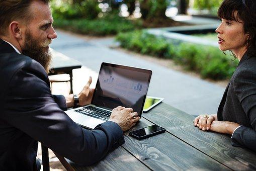 人, 男, 女性, 企業, ビジネス, 会議, ラップトップ, コンピュータ
