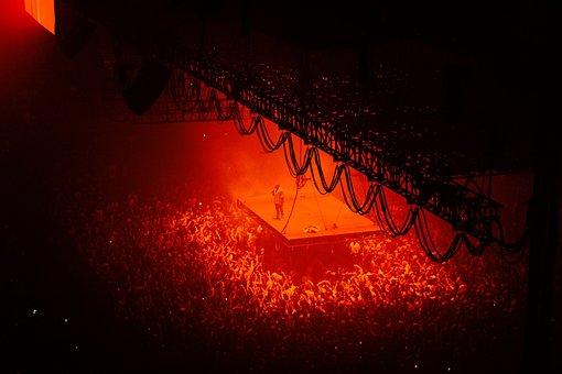 人, 群衆, モッシュ, ピット, 赤, コンサート
