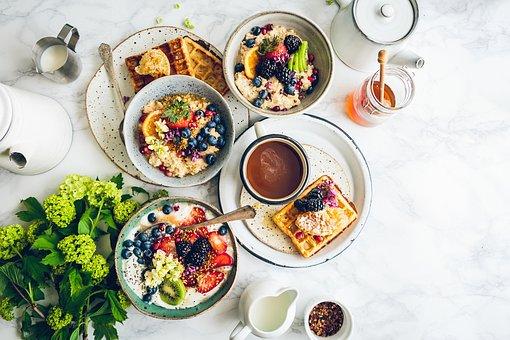 食品, 朝食, テーブル, 健康, 緑, 牛乳, 蜂蜜, ワッフル, 果物