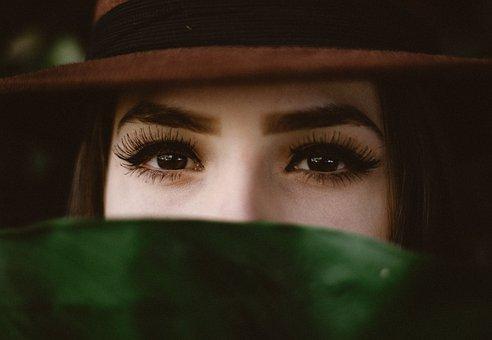 人, 女性, 女の子, 目, 眉毛, まつげ, 美しさ, 緑, 葉