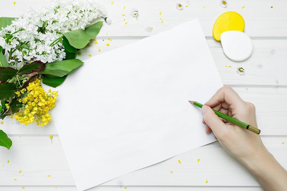 ライフスタイル, 仕事, 紙, 鉛筆, 花, デスク