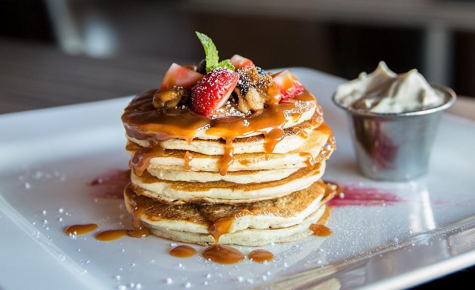 Restaurant, Food, Gourmet, Pancakes, Fruits