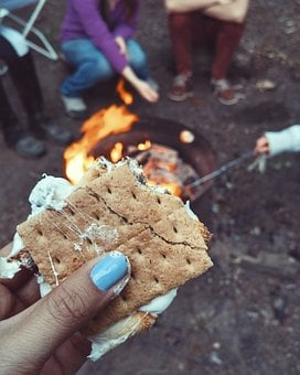 S'More, Food, Snack, Fire, Cooking