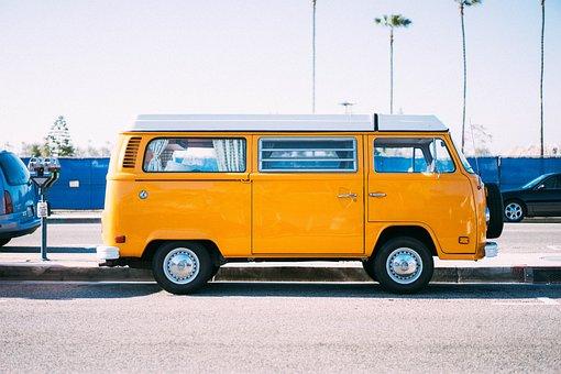 Yellow, Car, Van, Vehicle, Travel