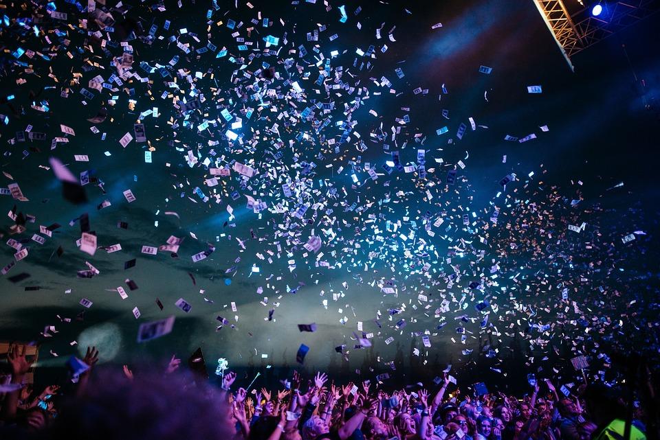 Confetti, Concert, People, Crowd, Night, Fun, Show