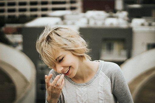 人, 女性, 美しさ, メイクアップします, セーター, 笑顔, 幸せ