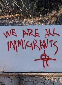 落書き, トランプ, 移民, 抗議, 難民