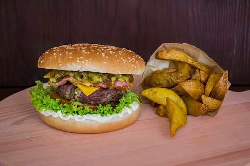 Burger, Hamburger, Wedges, Fries