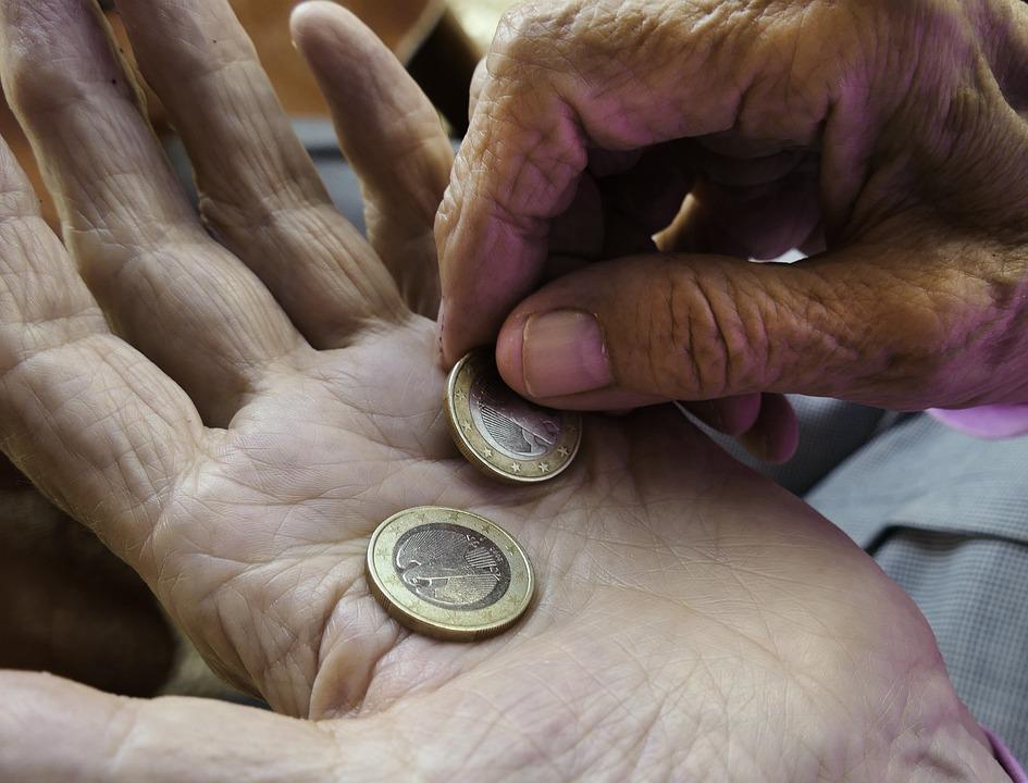 Mãos, Euro, Mãos, Pensão, Pensionista, Pagar, Moedas