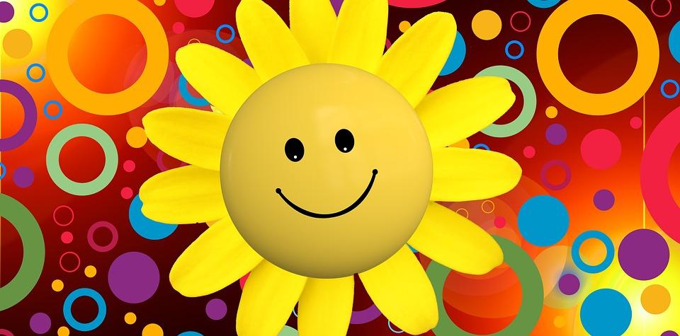 太陽、笑い、光線、運、幸せ、満足、ひまわり