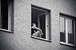 window, woman, building