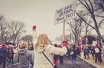 people, woman, rally