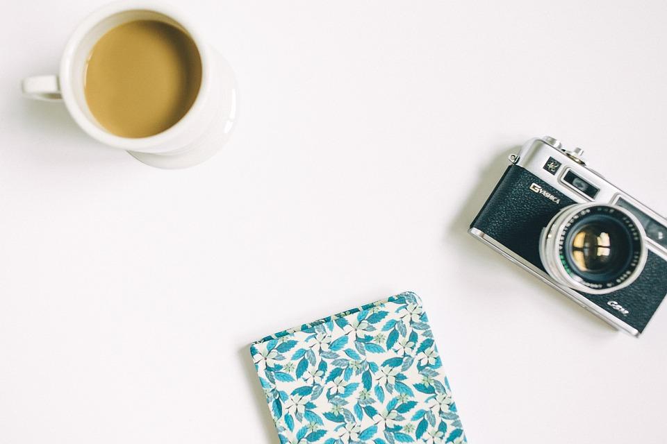 Flat Lay, White, Table, Diary, Notebook, Camera, Analog