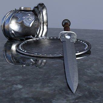 Sword, Helm, Shield, Weapon, Metal