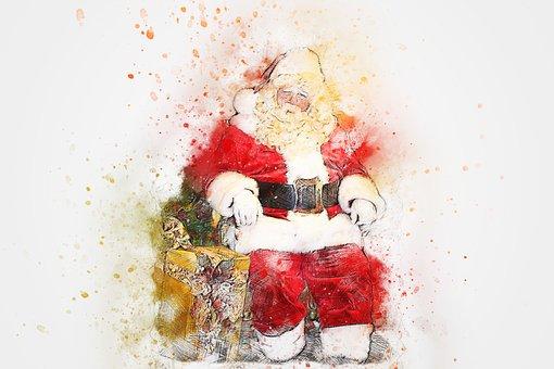 Christmas, Santa Claus, Gift, Art