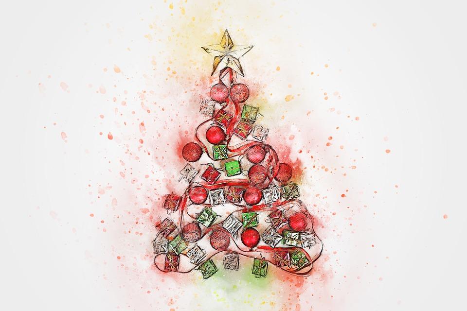 Weihnachten tanne geschenk kostenloses bild auf pixabay - Aquarell weihnachten ...