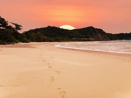 Beach, Sunset, Coast, Costa Rica