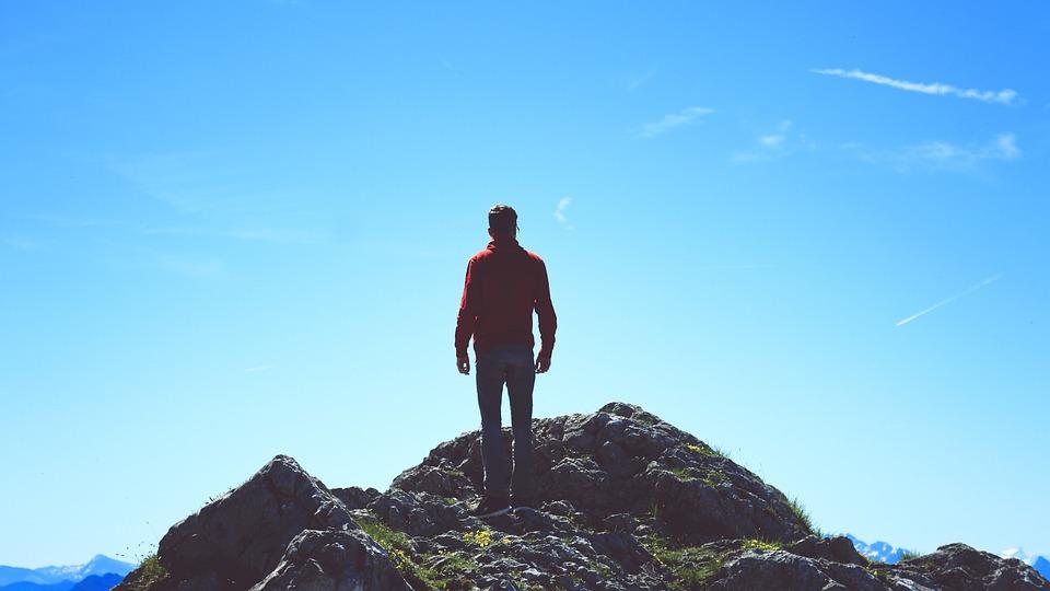 人間, 石, 立つ, 見通し, 山, 天国, 自然, パーカー, 赤, 男の子