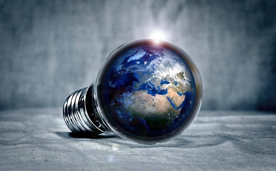 Terra, Planet, Continenti, Luce, Pera, Lampadina