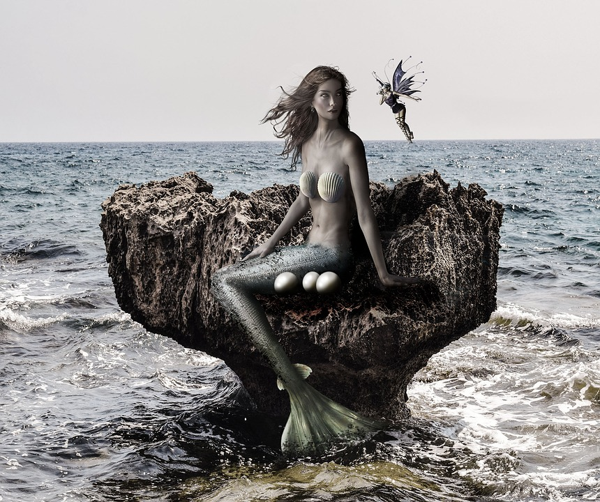 Mermaid, Fantasy, Sea, Water, Fairy, Siren, Wave, Rock