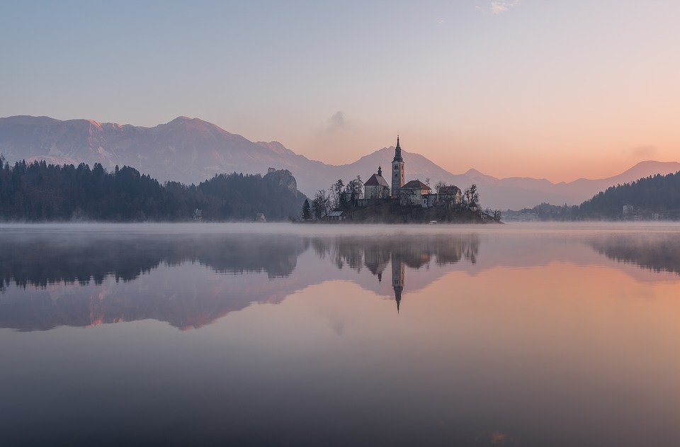 Bled, Winter, Lake, Slovenia, Castle, Island, Alps