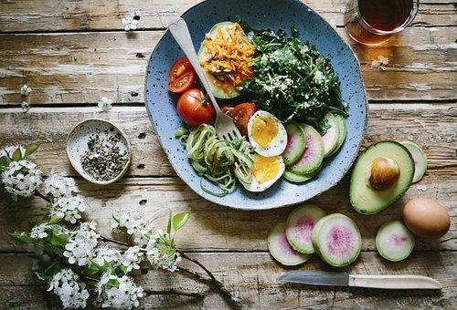 フラットレイ, 食品, サラダ, ダイエット, 健康, アボカド, 果物, 卵