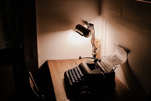 Dark, Room, Office, Table, Chair, Lamp