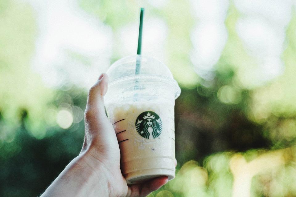 スターバックス, コーヒー, ショップ, レストラン, リラックス, 寒さ, フラッペ, ボケ, 緑, 葉